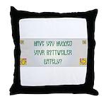 Hugged Rottweiler Throw Pillow