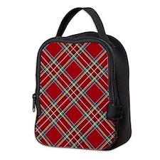 Red Plaid Pattern Neoprene Lunch Bag