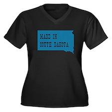 South Dakota Women's Plus Size V-Neck Dark T-Shirt