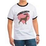 Weims Rule Pink Heart Ringer T