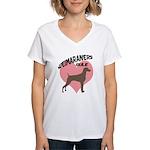 Weims Rule Pink Heart Women's V-Neck T-Shirt