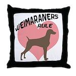 Weims Rule Pink Heart Throw Pillow