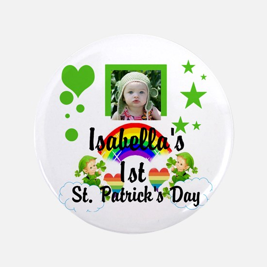 "Baby Photo St. Patricks Day 3.5&Quot; 3.5"" Button"