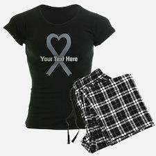 Personalized Gray Ribbon Hea Pajamas