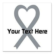 """Personalized Gray Ribbon Square Car Magnet 3"""" x 3"""""""