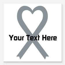 "Personalized Gray Ribbon Square Car Magnet 3"" x 3"""