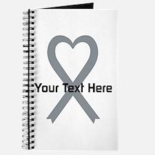 Personalized Gray Ribbon Heart Journal