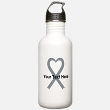 Personalized Gray Ribb Water Bottle