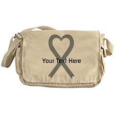 Personalized Gray Ribbon Heart Messenger Bag