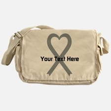 Personalized Gray Ribbon Heart Messenger Bag