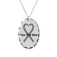 Personalized Gray Ribbon Heart Necklace