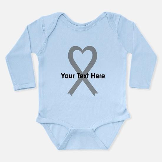 Personalized Gray Ribb Long Sleeve Infant Bodysuit