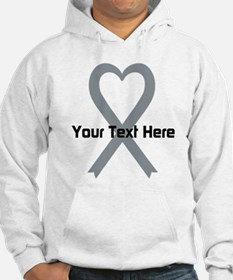 Personalized Gray Ribbon Heart Jumper Hoody