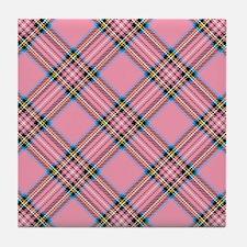 Pink Plaid Pattern Tile Coaster