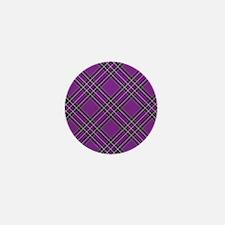 Purple Plaid Pattern Mini Button