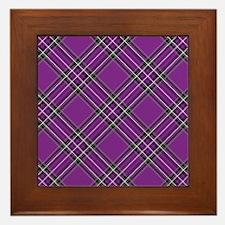 Purple Plaid Pattern Framed Tile