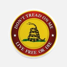 "DTOM Gadsden Flag (logo) 3.5"" Button (100 pack)"