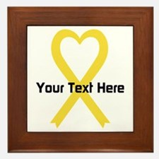 Personalized Yellow Ribbon Heart Framed Tile