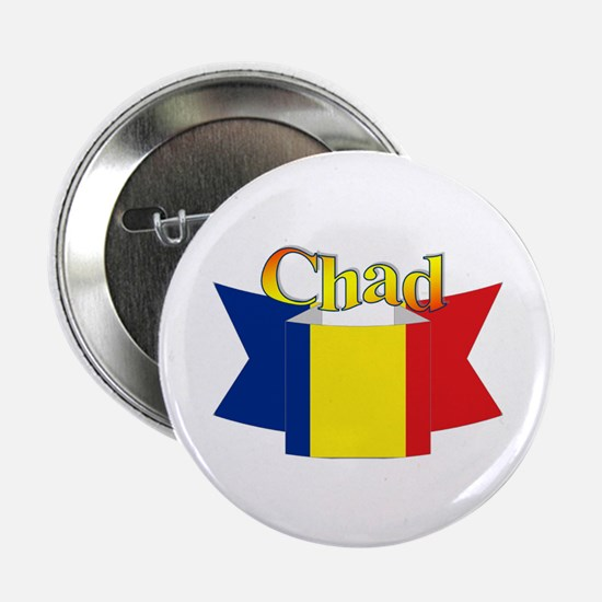 Chadian flag ribbon Button