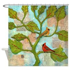Cardinal Love Notes Shower Curtain