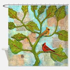 Cardinal Love Notes Shower Curtain