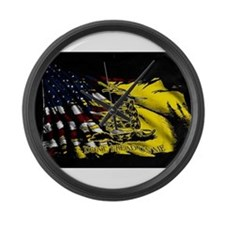 gadsden_kitchen towel Large Wall Clock