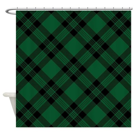 Green Plaid Pattern Shower Curtain By Artandornament