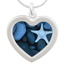 Blue_Starfish Silver Heart Necklace