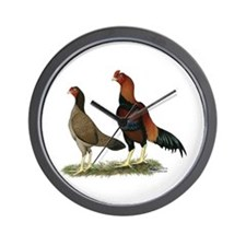 Aseel Wheaten Chickens Wall Clock