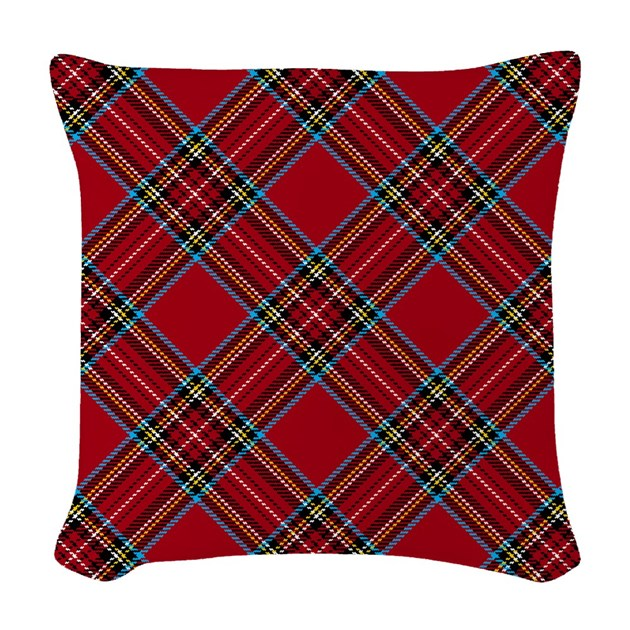 Red Plaid Decorative Pillows : Red Plaid Pattern Woven Throw Pillow by artandornament