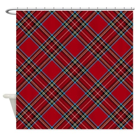 red plaid pattern shower curtain by artandornament