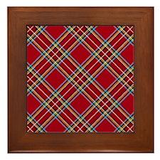 Red Plaid Pattern Framed Tile
