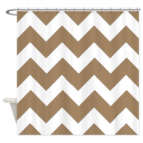 Light Brown And White Chevrons Shower Curtain By