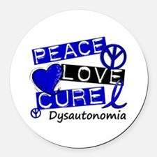 Peace Love Cure Dysautonomia Round Car Magnet