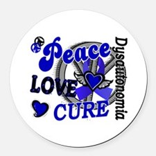 Peace Love Cure 2 Dysautonomia Round Car Magnet