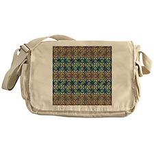 Brown, Blue Geometr Messenger Bag
