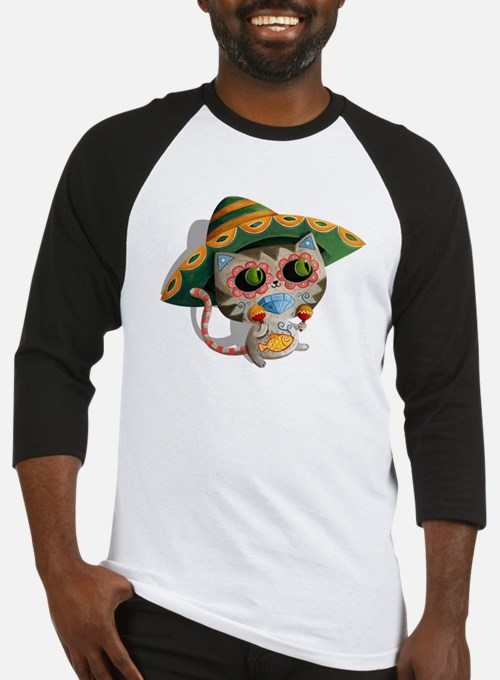 Mexican Cat in Sombrero Baseball Jersey