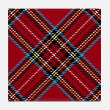 Red Plaid Pattern Tile Coaster