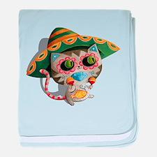 Mexican Cat in Sombrero baby blanket
