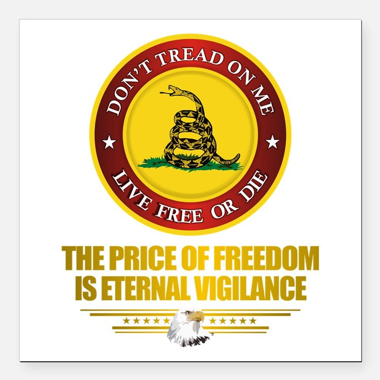 "(DTOM) The Price of Freedom Square Car Magnet 3"" x"