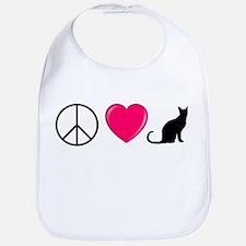 Peace Love Cats Bib