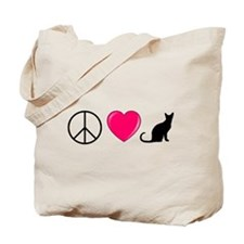 Peace Love Cats Tote Bag