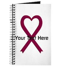 Personalized Burgundy Ribbon Heart Journal