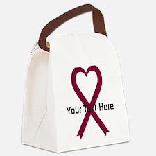 Personalized Burgundy Ribbon Hear Canvas Lunch Bag