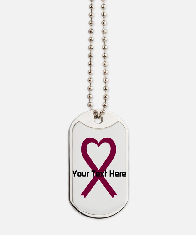 Personalized Burgundy Ribbon Heart Dog Tags