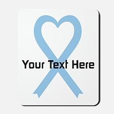 Personalized Light Blue Ribbon Heart Mousepad