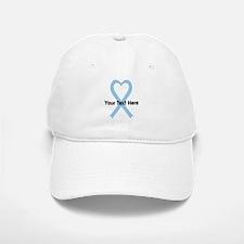 Personalized Light Blue Ribbon Heart Baseball Baseball Cap