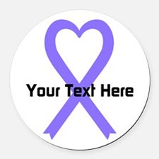Personalized Lavender Ribbon Hear Round Car Magnet