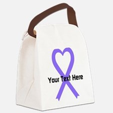 Personalized Lavender Ribbon Hear Canvas Lunch Bag