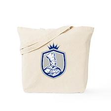 Baker Holding Bread Loaf Woodcut Crest Tote Bag
